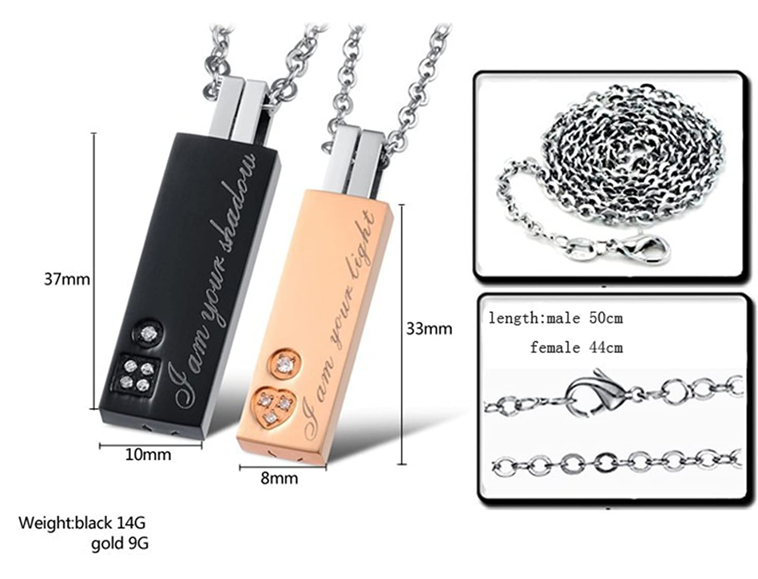 Feraco Stainless Couple Pendant Necklace Image 2
