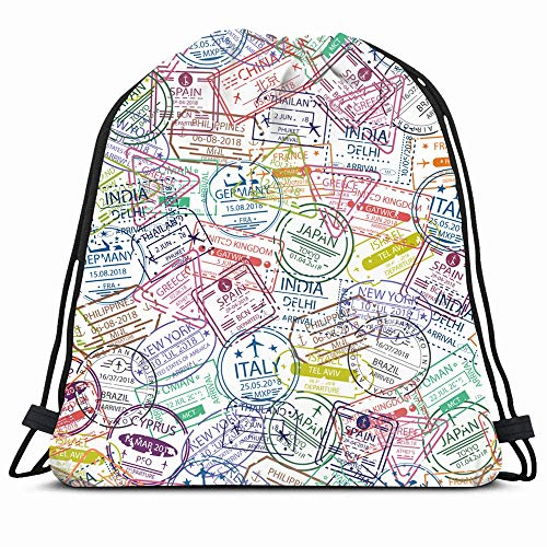 Ahawoso Drawstring Backpack String Bag Germany International Passport Visa Stamp Pattern Tourism Travel Trip Greece Brazil Plane Sport Gym Sack Hiking Yoga Travel Beach