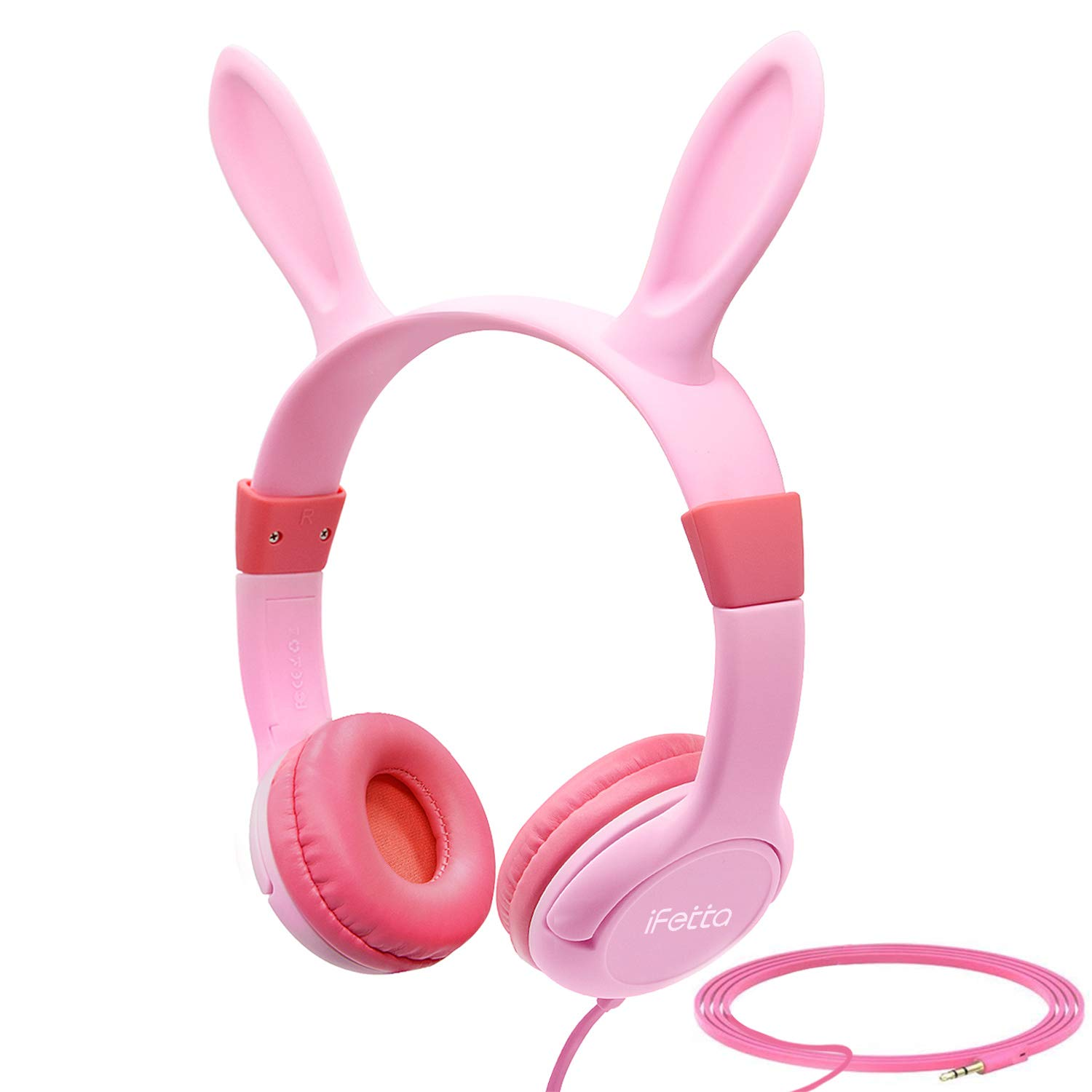 Kids Headphones, Ifecco Wired Over Ear Headphones Support Music Sharing Function Bunny Ear Headphones with 85DB Volume Limited 3.5mm Audio Jack Headset for Kids, Pink