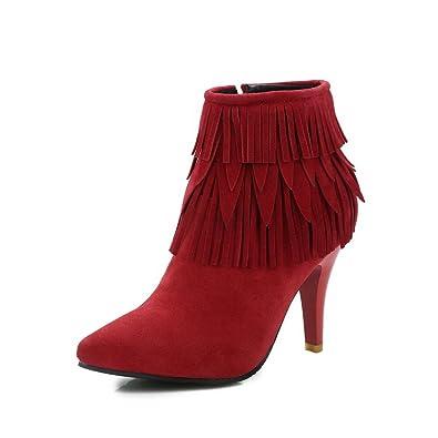 VogueZone009 Damen Rein PU Leder Hoher Absatz Reißverschluss Rund Zehe Stiefel, Rot, 40
