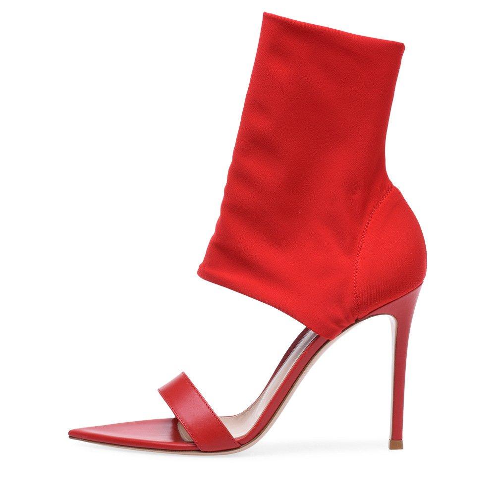 Frauen Schuhe 2018 Neue rote und Schwarze elastische Stiefel große Größe Mode Coole Stiefeletten High Heel Sandaletten Damen erhöhen Sandalen (Farbe   Rot, Größe   39) B07CNRBB4D Sport- & Outdoorschuhe Abrechnungspreis