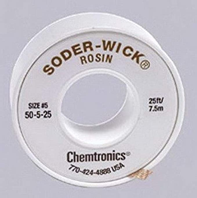 50-5-25 Soder-Wick Rosin Desoldering Braid 0.145in//3.7mm 25ft Chemtronics NEW