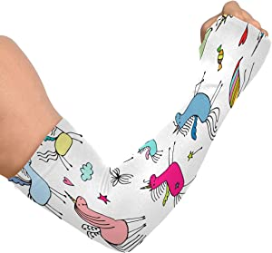 EJudge Uv Sun Protection Cooling Arm Sleeves Magic Rainbow Unicorns Seamless Compression Sleeves for Arms, Arm Tattoo Sleeves, Sleeves to Cover Arms for Men Women