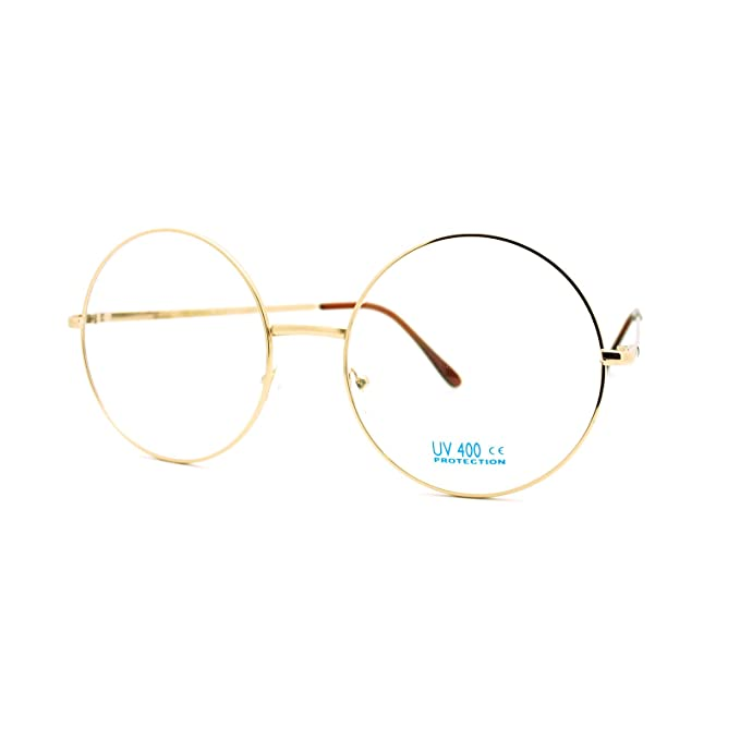 e1fa0f8ddc5 Super Oversized Round Circle Frame Clear Lens Glasses Gold  Amazon.in   Clothing   Accessories