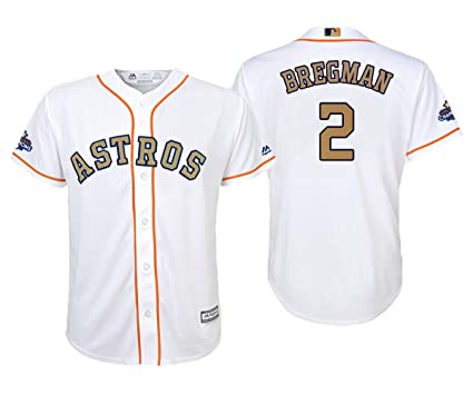 943996264 Outerstuff Alex Bregman Houston Astros  2 White Youth Cool Base Home Golden  Program Jersey (