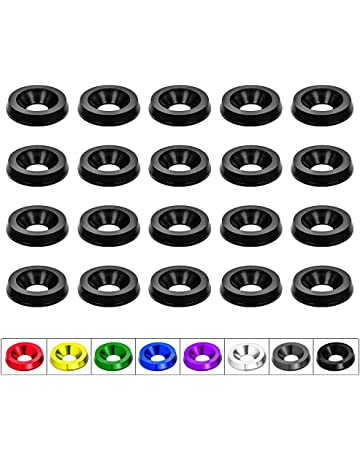 Negro Kit de 20 Piezas Lavadora de Defensa de Parachoques de Aluminio Billet CNC//Perno de arandela de Parachoques//Motor Bay Dress Up//Pernos de matr/ícula