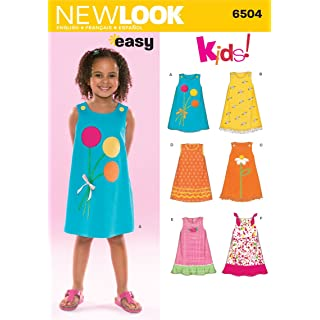 New Look Sewing Pattern 6504 Child Dresses, Size A (3-4-5-6-7-8)