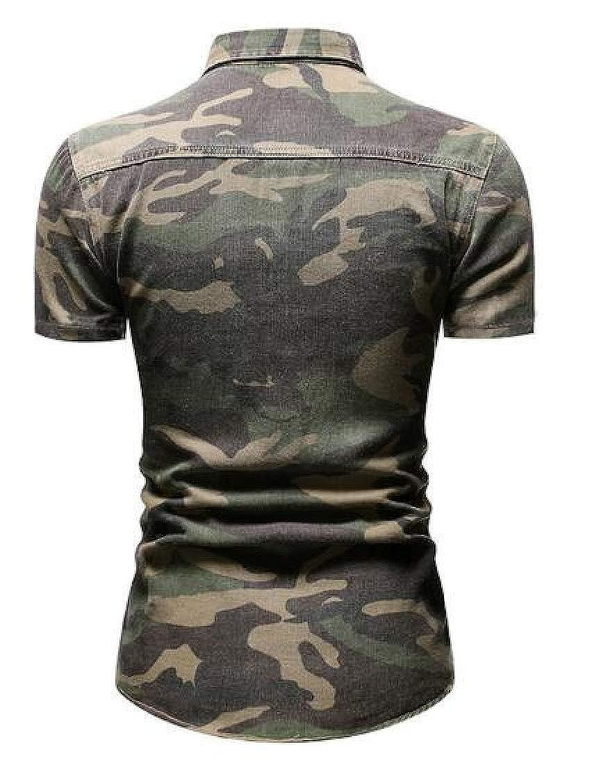 Zantt Men Short Sleeve Button Up Camo Summer Denim Work Western Shirt