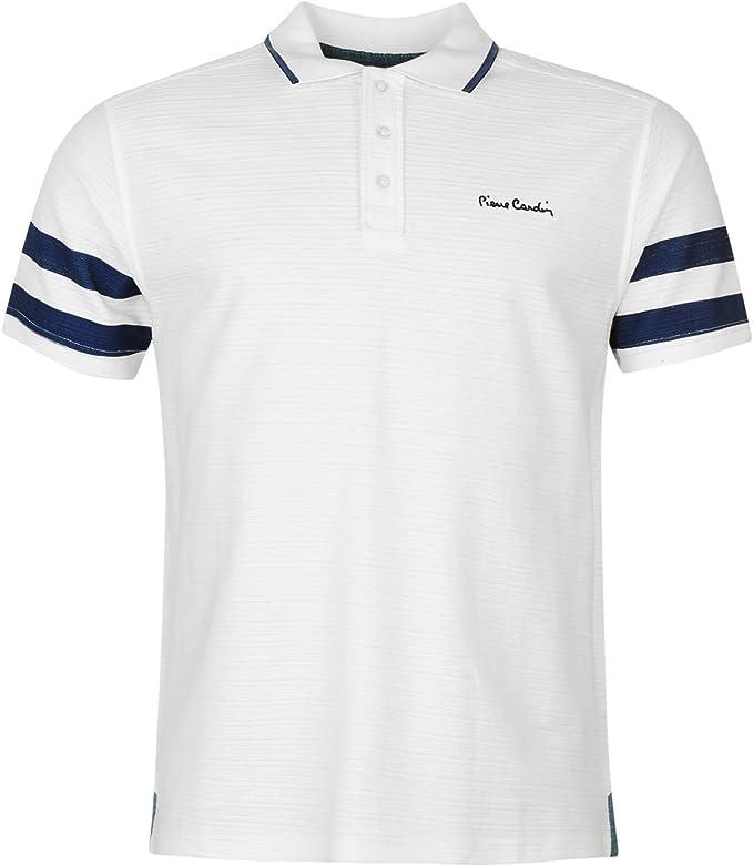 Pierre Cardin - Polo - para hombre White/Blue large: Amazon.es ...