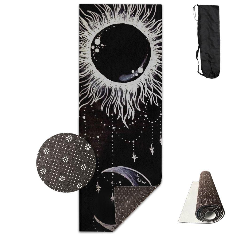 MagicブラックSun Art Moonプリントヨガマットタオルファッションノンスリップforパドルボードヨガ、ヨガ、ピラティススポーツ練習24 x 71インチGreat耐久性マット   B079ZSL3B5