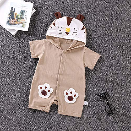 NUWFOR Newborn Baby Boy Girls Cartoon Hoodie Infant Rompers Jumpsuit Outfits Clothes(Coffee,18-24 Months by NUWFOR (Image #2)