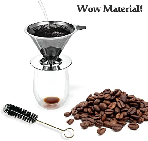 WOW material. vierta sobre cafetera goteo sin papel filtro de café permanente de acero inoxidable doble malla de filtro cafetera eléctrica con un cepillo de limpieza libre: Amazon.es: Hogar