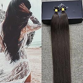 Full Shine U Tip Hair Extensions Human Hair 14 Inch U Tip Remy Hair Extensions Human Hair Extensions Color 1 Jet Black Keratin Tip Extensions 0.8 Gram Per Strand 40 Gram Remy Hair