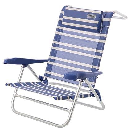 Silla Plegable para Playa clásica de Aluminio Azul Garden ...