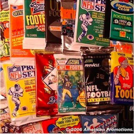 Autographed Football Card (NFL Football Trading Cards. Collection of NFL Football Card Set of 30 Unopened Assorted Packs From Different Years and Brands. Includes AUTOGRAPHED SIGNED Booklet of Sports Card Mania.)