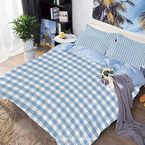 Dinette Set Pastel - 3 Piece Set Microfiber Fabric,Little Squares and Stripes Pastel Color Gingham Repeating Rows Vintage Tile,Full Size,Include 1 Quilt Cover+2 Pillow case,Light Blue White