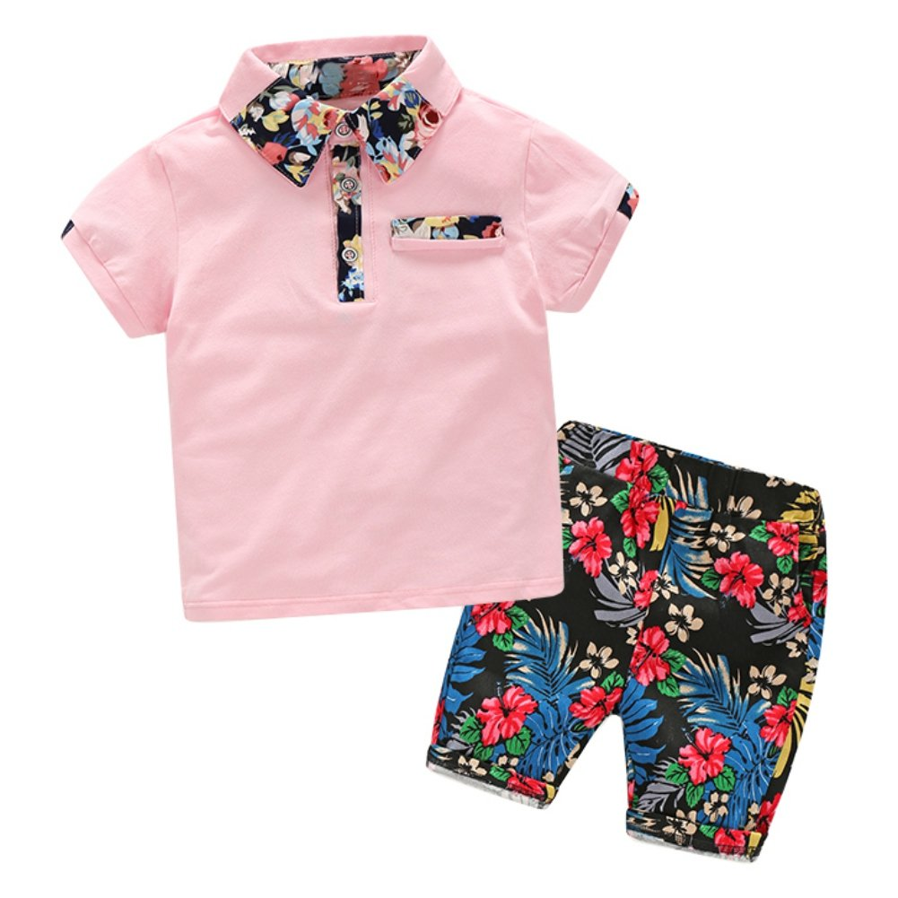 Minuya Boys Clothes Set Summer Beach Holiday Style Floral Pattern Shirt Tops + Shorts Clothes Outfits Set 2 Pcs