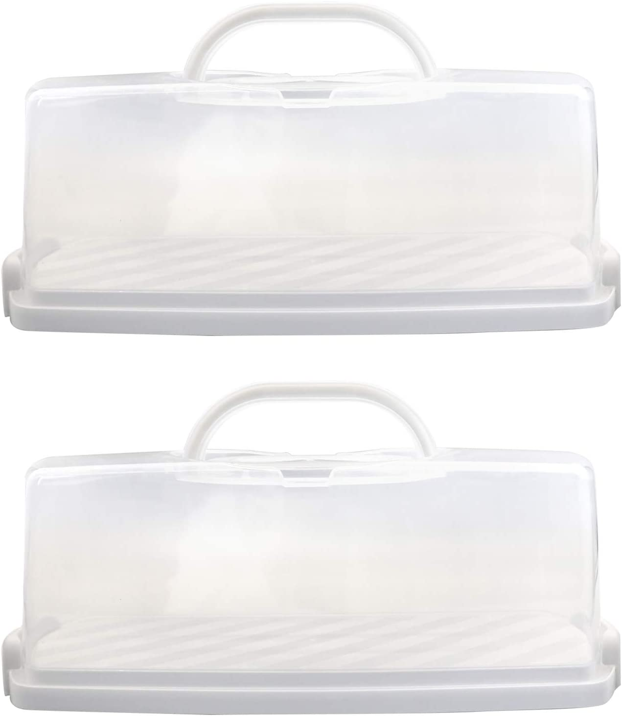 2 Pcs Portable Bread Box with Handle Loaf Cake Container Plastic Rectangular Food Storage Keeper Carrier 13inch Translucent Dome for Pastries, Bagels, Bread Rolls, Buns or Baguettes (White)