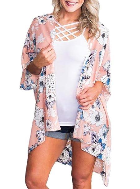 Amazon.com: Kimono floral para mujer, para verano, blusa ...