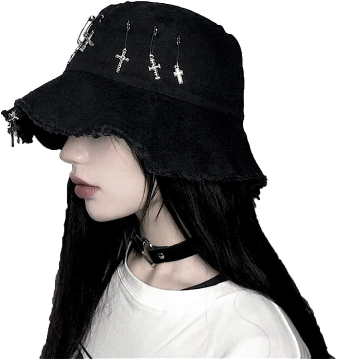 Amazon Com Zaaq Ins Harajuku Style Dark Black Cross Summer Fisherman Hat Hip Hop Cap Foldable Bucket Hats Men And Women Streetwear Home Kitchen