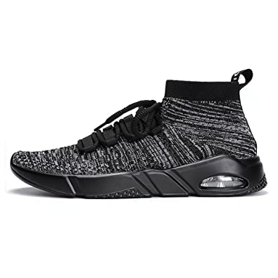 0d97a743167da Mens Walking Shoes Lightweight Breathable Running Shoes Flyknit Fashion  Sneakers Grey