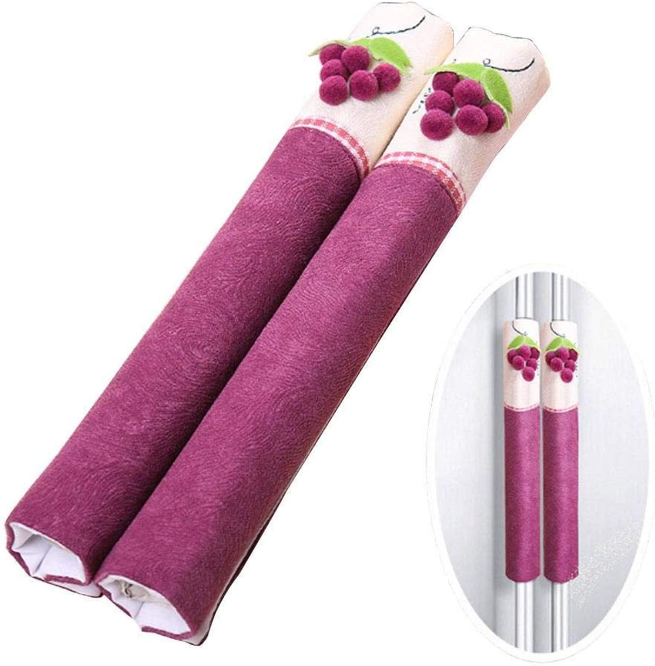 Topgalaxy.Z Refrigerator Door Handle Covers Protective Electrical Kitchen Appliances Gloves Fridge Microwave Dishwasher Door Cloth Protector- Fingerprints Dust Covers Refrigerator Cover (Purple)