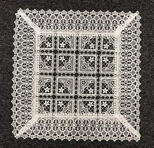Mikash 18 Square White Wedding Bride Bridal Lace Table Placemat Mat Doily Doilies | Model TBLCLTH - 997 - Taffeta Ticking