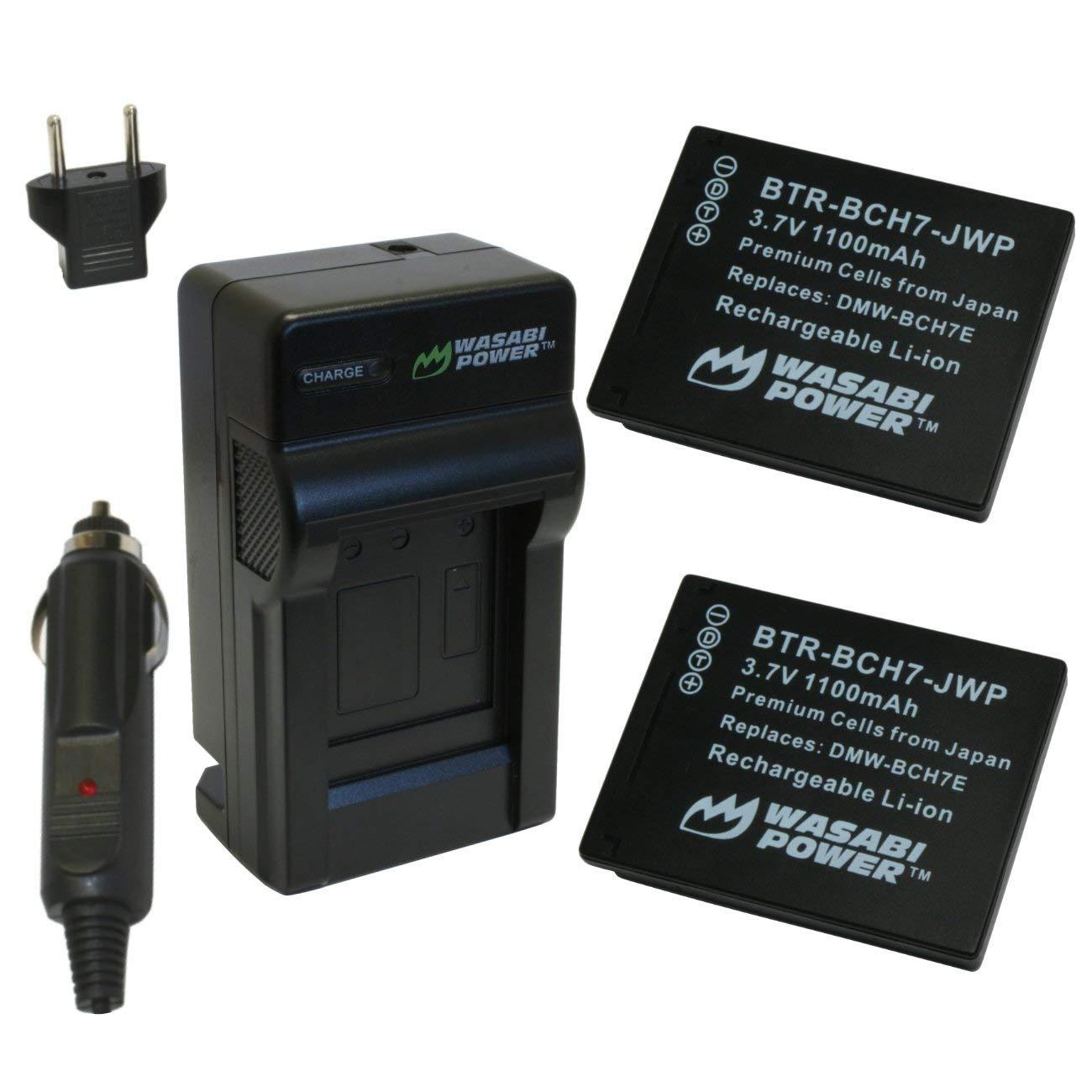 Wasabi Power Battery (2-Pack) and Charger for Panasonic DMW-BCH7, DMW-BCH7PP, DMW-BCH7E, Lumix DMC-FP1, DMC-FP2, DMC-FP3, DMC-FT10, DMC-TS10