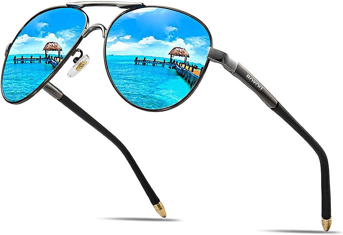 BOYOU Retro Vintage Polarisierte Sonnenbrille Pilotenbrille mit Federscharnier für Herren und Damen UV400 Gläser: Amazon.de: Bekleidung -