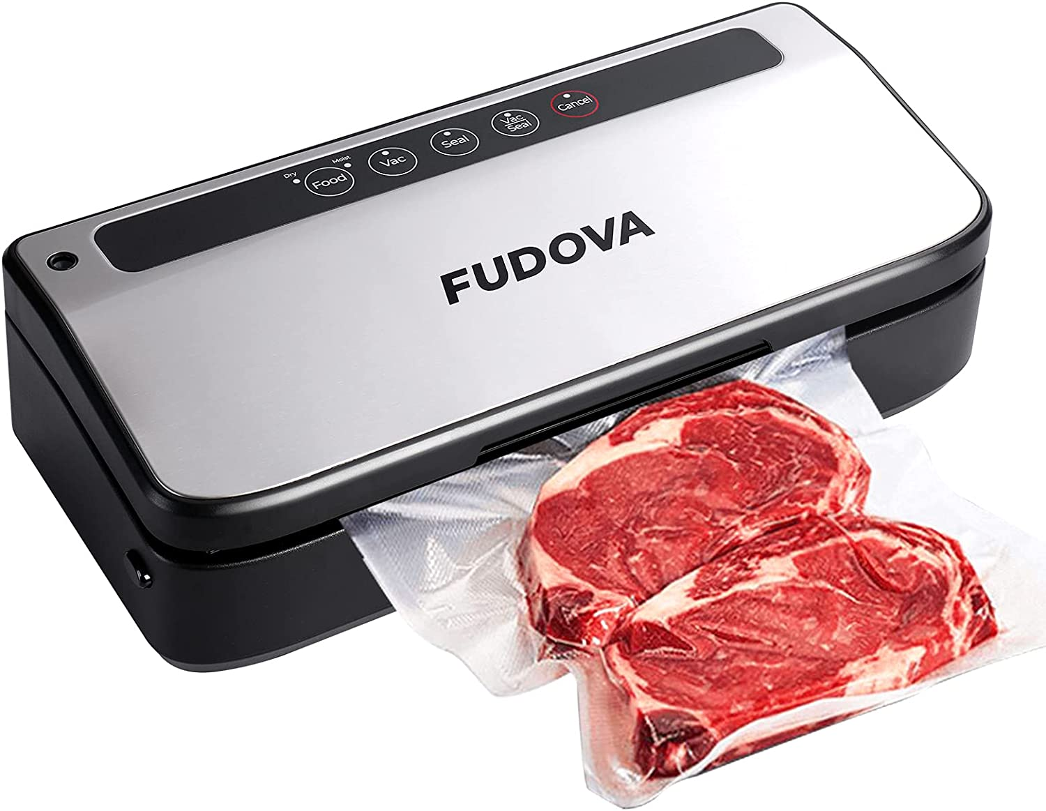 FUDOVA Vacuum Sealer Machine, Food Saver for Keep Fresh, 80Kpa Vacuum Strong Suction Preservation System, Soft Silicone Sealing ring ,Dry & Moist Food Modes (with 10 Sealer Bags), Silver