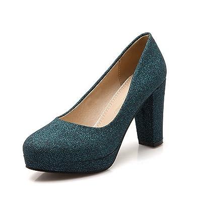 AgooLar Damen Weiches Material Spitz Zehe Hoher Absatz Ziehen auf Rein Pumps Schuhe, Schwarz, 33