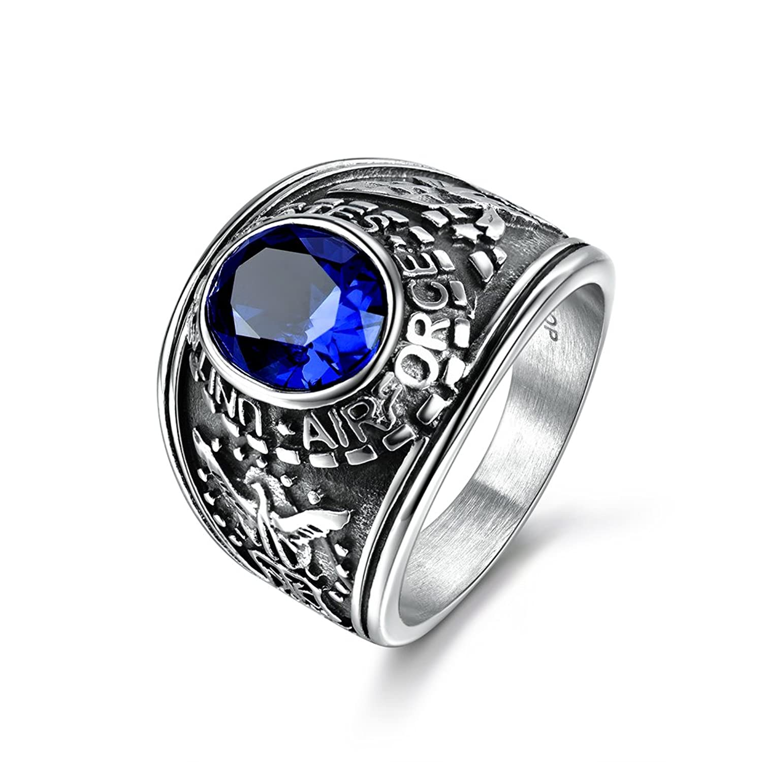 MASOP Jewelry Men's Stainless Steel United State Airforce Wide Identify Ring Blue Sapphire Color Stone