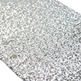 TRLYC 12 x 120 Inch Sparkly Silver Sequin Table Runner,Sequin Tablecloth Silver