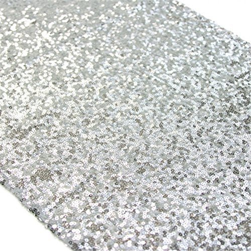 TRLYC 12 x 120 Inch Sparkly Silver Sequin Table Runner,Sequin Tablecloth (Silver Sequin)
