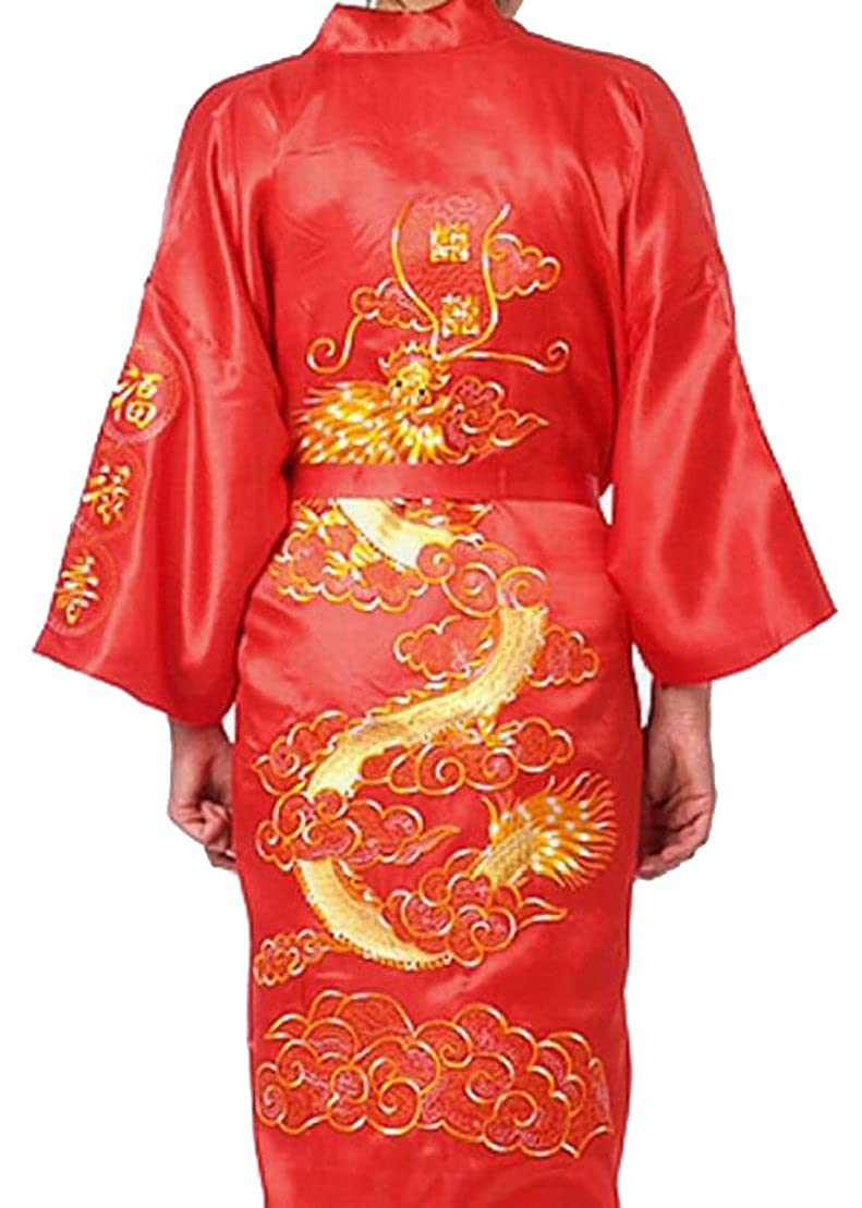 TTYLLMAO Men's Chinese Dragon Embroidered Satin Kimono Robe Loungewear Nightgown