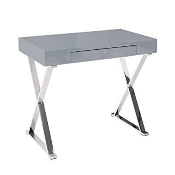 Design Schreibtisch Grace Hochglanz Grau Mit Schublade Tisch