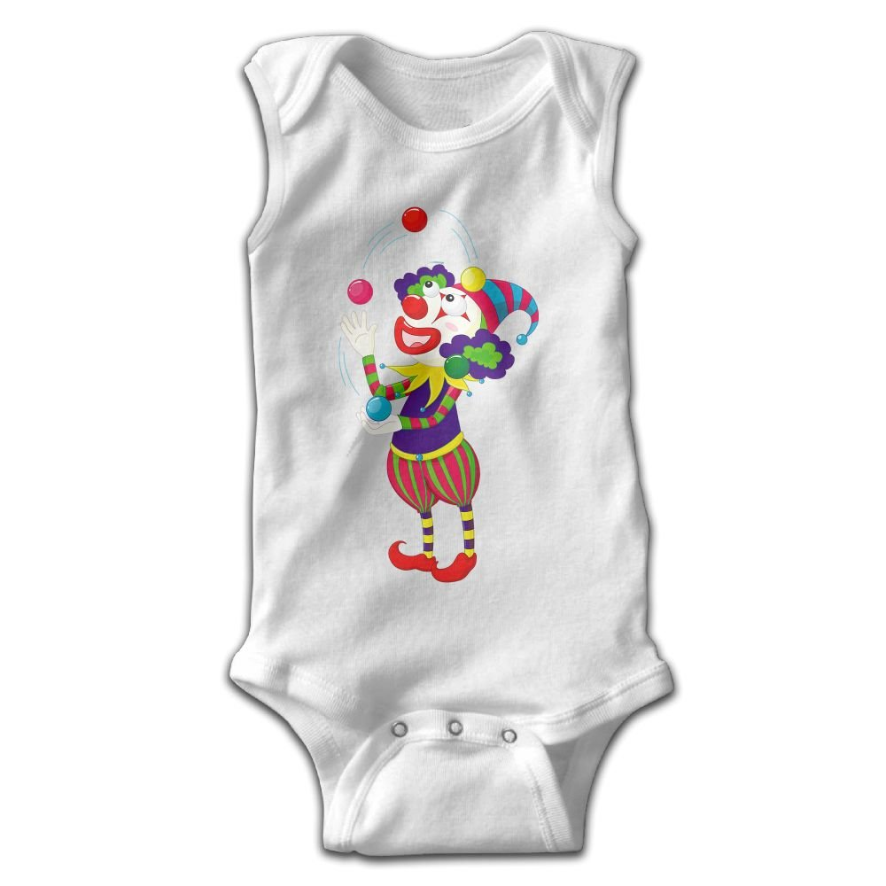 Efbj Toddler Baby Boys Rompers Sleeveless Cotton Onesie Clown Print Jumpsuit Winter Pajamas Bodysuit