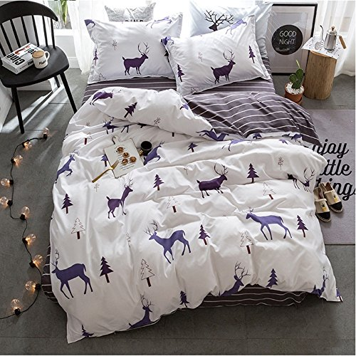 ZHIMIAN Reversible 3 Piece Christmas Elks And Forest Printed Duvet Cover Set with Zipper Closure(1 Duvet Cover + 1 Pillow Shams),120GSM,Ultra - Bedding Beyond