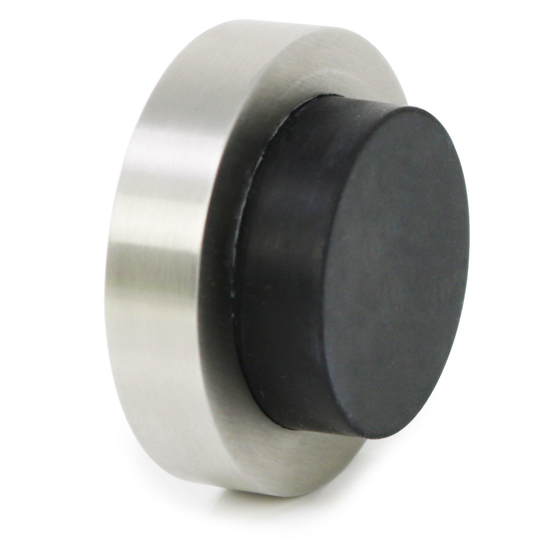 COM-FOUR® fermaporta in Acciaio Inox Lucido, Porta a Muro Ferma con tamponi in Gomma e Hardware di Montaggio, Ø 5,8 x 2,5 cm (01 Pezzi - lucidati)
