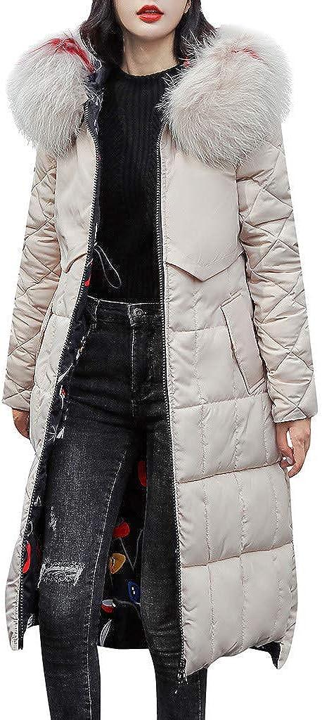 Shybuy Womens Winter Coat Fleece Cotton Military Parka Fur Hooded Jacket Womens Overcoat