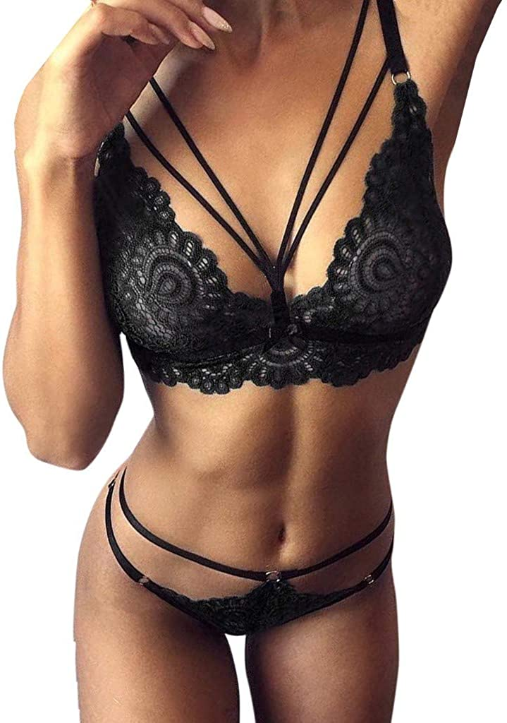 Malbaba Women Sissy Lace Sexy Lingerie Straps Bra And Panty Bandage Set Babydoll