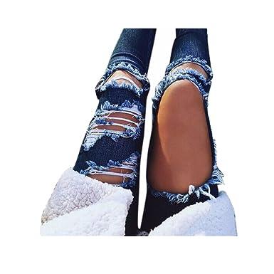VENMO Destroyed Jeanshose Mittlere Taille Jeans Frauen lässig Blaue Kratzer Loch  zerrissen Hosen Denim Hose Slim 9789283eac