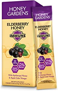 Honey Gardens Elderberry Honey Immune Drink Mix | with Honey & Apple Cider Vinegar | Gluten Free | 5 Packets
