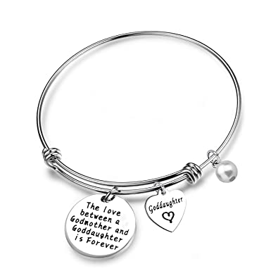 ENSIANTH Godmother Bangle Bracelet Godmother Gifts Expanded Bracelet Christening gifts IHvqfoosp0