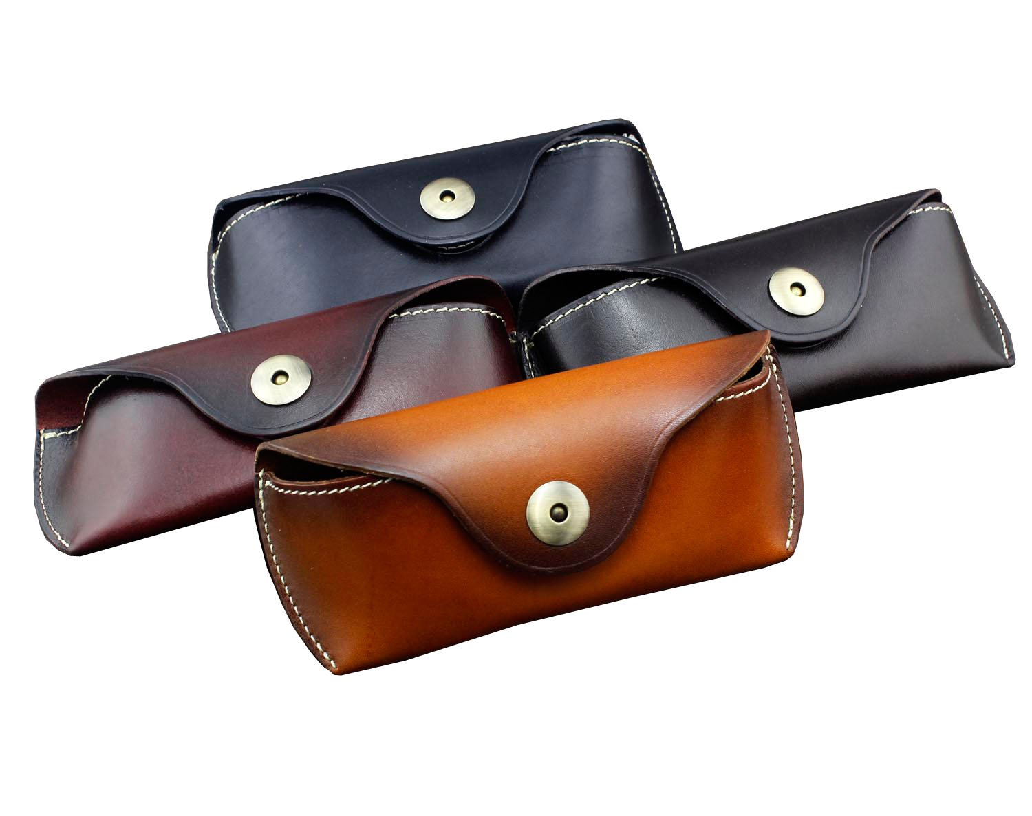 Real Cow Leather Handmade Glasses Pouch Vintage Sunglasses Belt Loop Case black