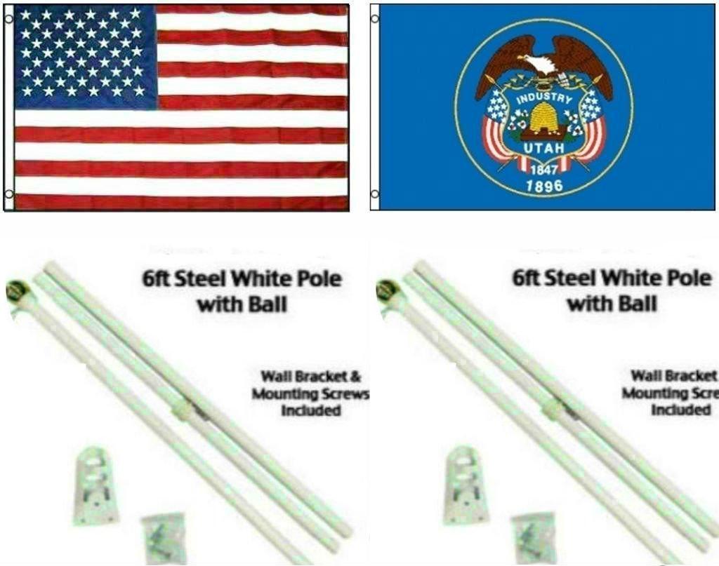 交換無料! 3 ' x 5 3 ' x5 ' USA x x5 American W/ユタ州の状態フラグW/ 2つ6 'ホワイト旗竿ポールキットボールトッパー B01MS42H8L, BRILHAR:b7c6413e --- nobumedia.com