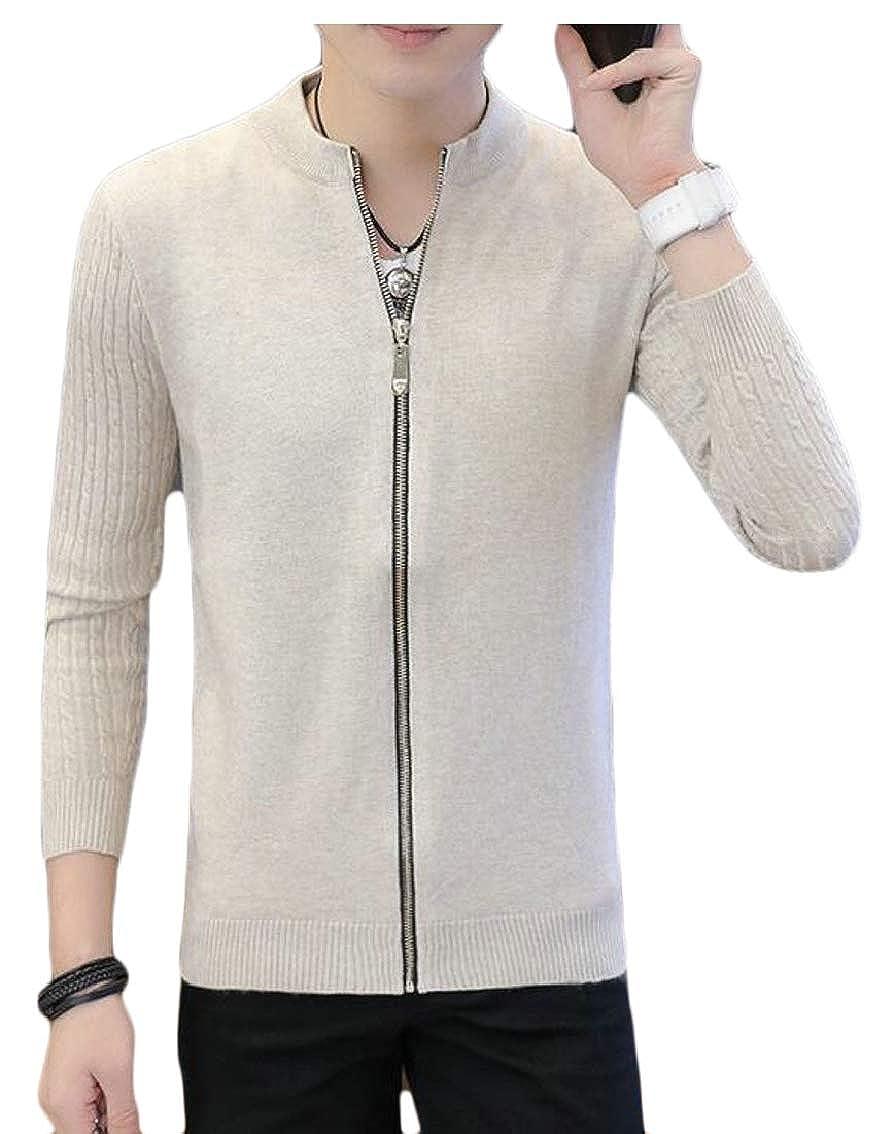 Jmwss QD Mens Knit Long Sleeve Stand Collar Full-Zip Cardigan Sweater