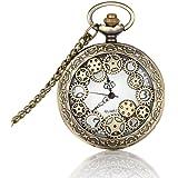 hrph Vintage gran Face dorado reloj de bolsillo collar mujeres hombres cuarzo reloj de bolsillo