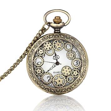 Hrph Collar reloj retro diseño hueco del engranaje de reloj de bolsillo de la vendimia de bolsillo del bronce de cadena: Amazon.es: Deportes y aire libre