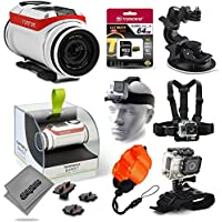TomTom Bandit 4K Action Camera with 64GB Ultra Memory + Suction Cup Mount + Headstrap + Chest Harness + Hand Wrist Glove + Floaty Strap